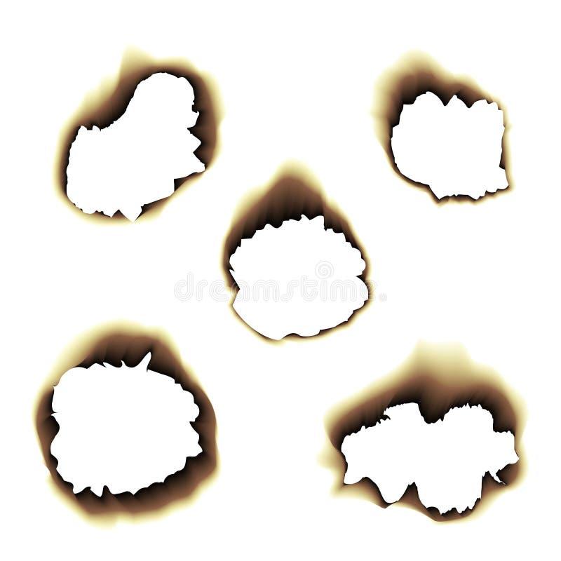 Μμένη καψαλισμένη απεικόνιση τρυπών εγγράφου στο διαφανές υπόβαθρο διανυσματική απεικόνιση