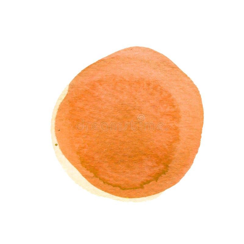 Μμένη μορφή κύκλων καρότων πορτοκαλιά με το διάστημα για το κείμενο Κίτρινο στρογγυλό υπόβαθρο Watercolor Περίληψη λεκέδων Waterc στοκ εικόνες