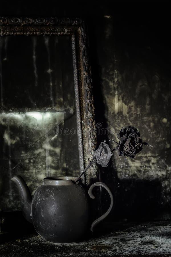 Μμένο εσωτερικό δωματίων Μμένη ακόμα ζωή Ο απανθρακωμένος τοίχος, πλαίσιο εικόνων, δοχείο με αυξήθηκε στη μαύρη αιθάλη στοκ εικόνες