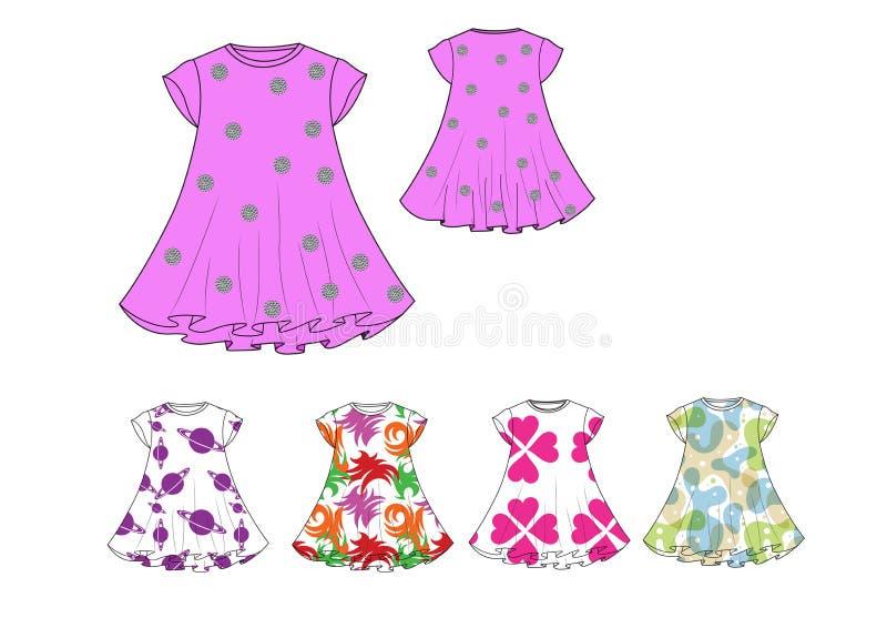 μμένο ΚΑΠ πρότυπο σχεδίου φορεμάτων μοτίβου τυπωμένων υλών μανικιών απεικόνισης κορίτσι ελεύθερη απεικόνιση δικαιώματος