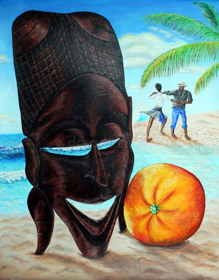 Μνήμες του Πράσινου Ακρωτηρίου Αφρικανική μάσκα, πορτοκαλιοί, χορεύοντας αυτόχθοντες, ωκεανός, παραλία Ακρυλικό χρώμα σε χαρτί ελεύθερη απεικόνιση δικαιώματος