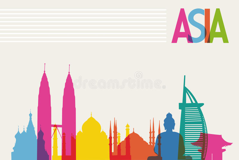 Μνημεία ποικιλομορφίας της Ασίας, διάσημο χρώμα ορόσημων διανυσματική απεικόνιση
