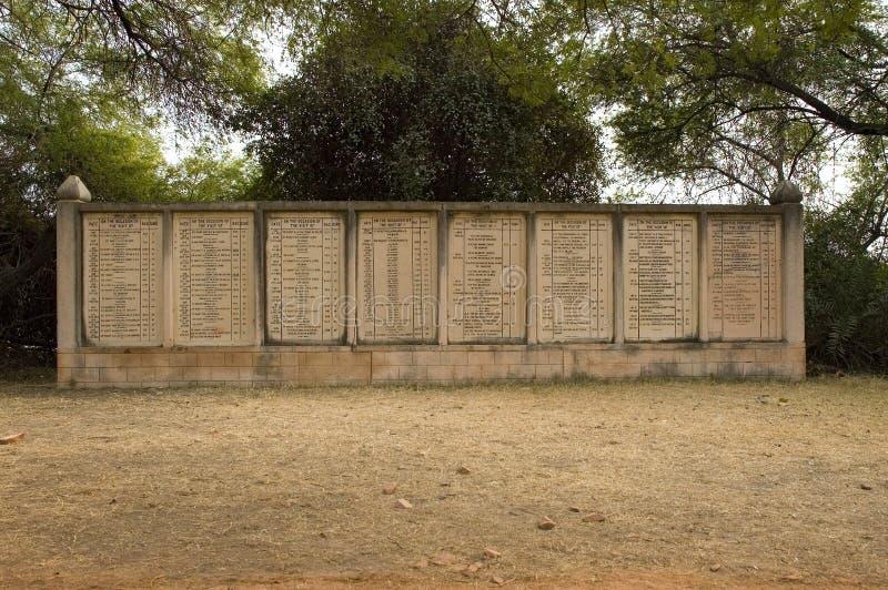 Μνημεία των αριθμών πυροβολισμού πουλιών σε Bharatpur, Ινδία στοκ εικόνα
