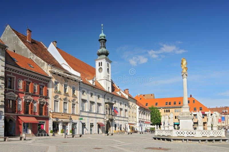 Μνημείο Δημαρχείου και Πανούκλας στην Κεντρική Πλατεία Μάριμπορ, Σλοβενία στοκ εικόνες με δικαίωμα ελεύθερης χρήσης