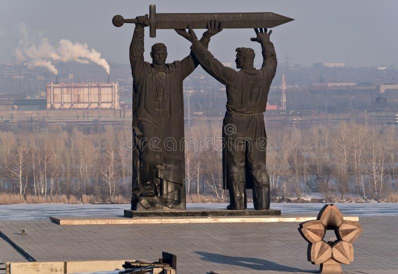 Μνημείο οπίσθιος-μετώπων σε Magnitogorsk στοκ φωτογραφίες