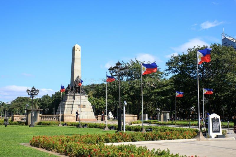 Μνημείο στη μνήμη του Jose Rizal στο πάρκο Rizal στοκ φωτογραφίες με δικαίωμα ελεύθερης χρήσης