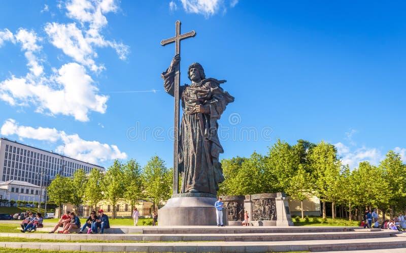 Μνημείο στον ιερό πρίγκηπα Βλαντιμίρ μεγάλος ο κοντινός η Μόσχα Κρεμλίνο, Ρωσία στοκ φωτογραφία με δικαίωμα ελεύθερης χρήσης