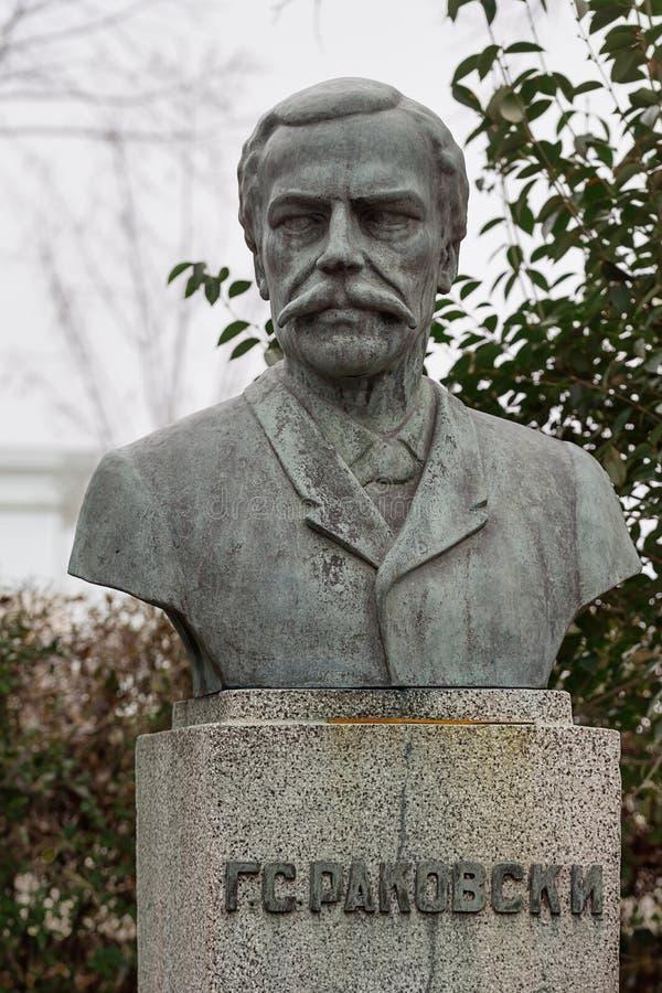 Μνημείο στο εθνικό ήρωα Γ S Rakovski που τοποθετείται στη βουλγαρική πόλη Burgas στον κήπο θάλασσας στοκ εικόνες με δικαίωμα ελεύθερης χρήσης