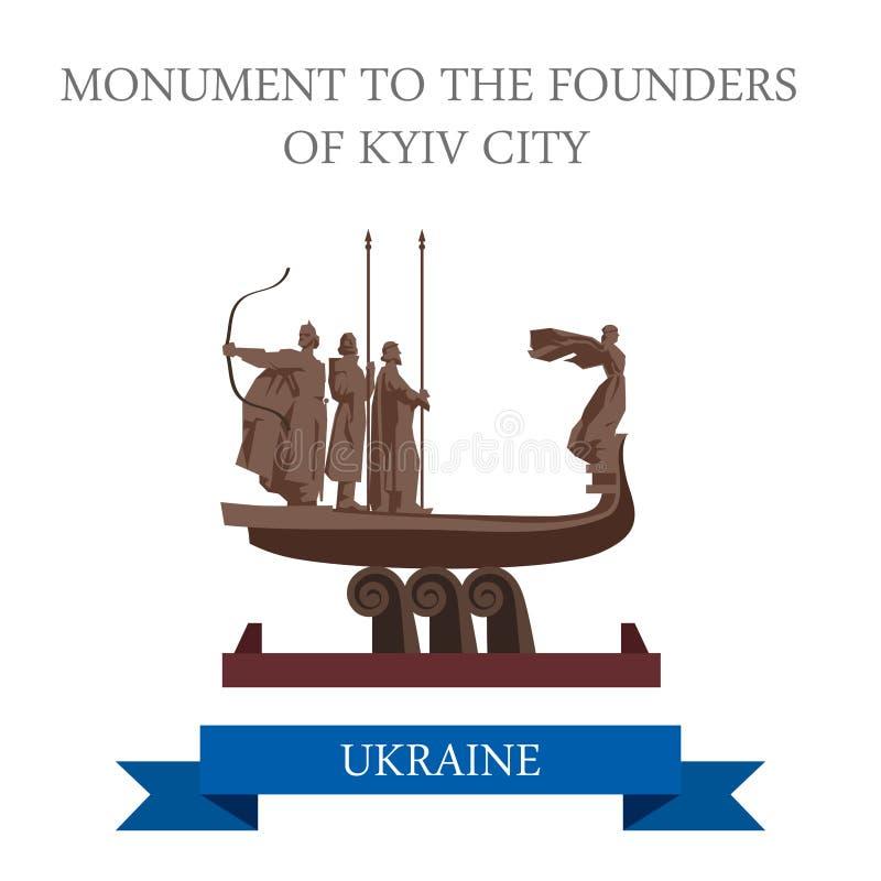 Μνημείο στο επίπεδο διανυσματικό ορόσημο του Κίεβου Ουκρανία πόλεων Kyiv ιδρυτών ελεύθερη απεικόνιση δικαιώματος