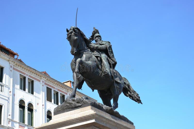 Μνημείο στο Victor Emmanuel ΙΙ στη Βενετία, σε Riva Degli Schiavoni, Ιταλία στοκ φωτογραφίες με δικαίωμα ελεύθερης χρήσης