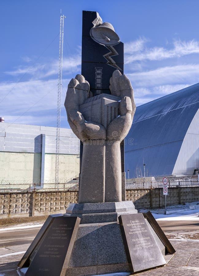 Μνημείο, τέταρτος αντιδραστήρας και η περίκλειση της σαρκοφάγου στη ζώνη αποκλεισμού του Τσερνομπίλ, Ουκρανία στοκ φωτογραφίες