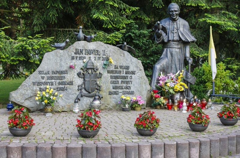 Μνημείο του Πάπαντος Ιωάννης Παύλος Β' στο πάρκο πόλεων, Rabka Zdroj, POL στοκ φωτογραφία