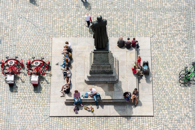 Μνημείο του Martin Luther σε Neumarkt στη Δρέσδη στοκ εικόνες