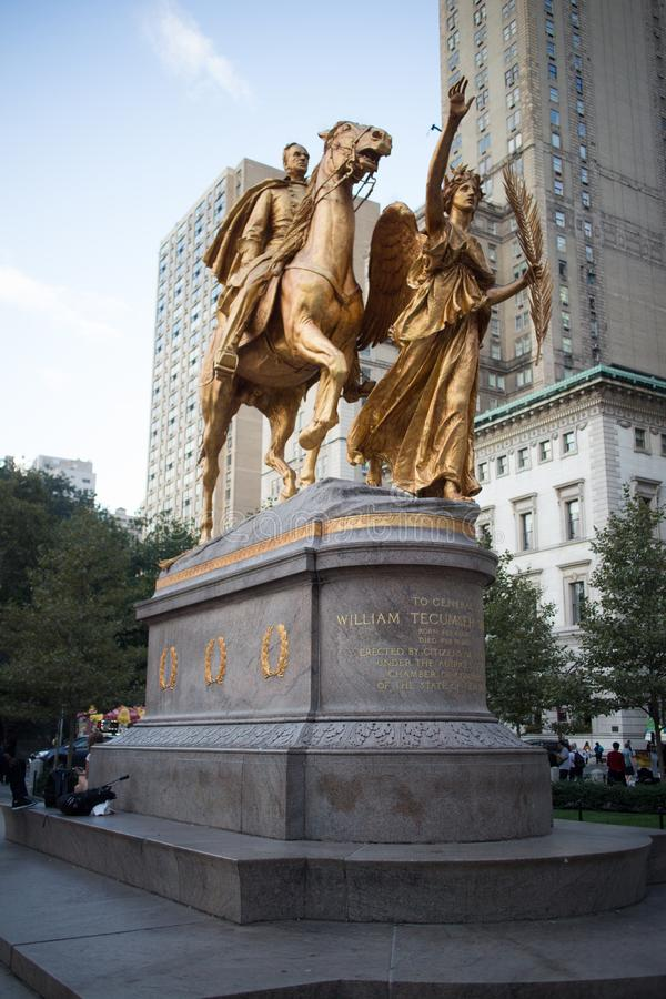 Μνημείο του William Tecumseh Sherman στην πόλη της Νέας Υόρκης στοκ φωτογραφίες με δικαίωμα ελεύθερης χρήσης
