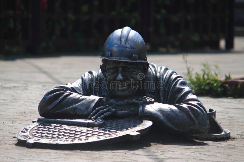 Μνημείο «υδραυλικός Stepan» στο κέντρο του Ομσκ στοκ εικόνες