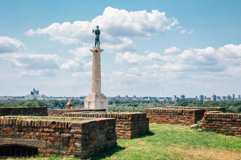 Μνημείο Φρούριο Καλεμεγκντάν και Βίκτωρ στο Βελιγράδι της Σερβίας στοκ φωτογραφίες