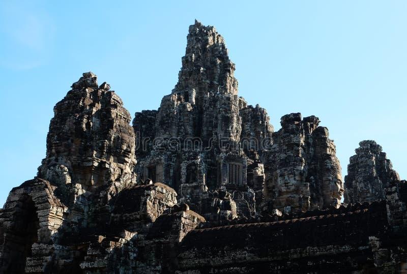 Μνημειακός αρχαίος ναός Bayon στην Καμπότζη Μεσαιωνικός ναός σε Indochina Αρχιτεκτονική τέχνη των αρχαίων πολιτισμών Bayon στοκ φωτογραφία με δικαίωμα ελεύθερης χρήσης