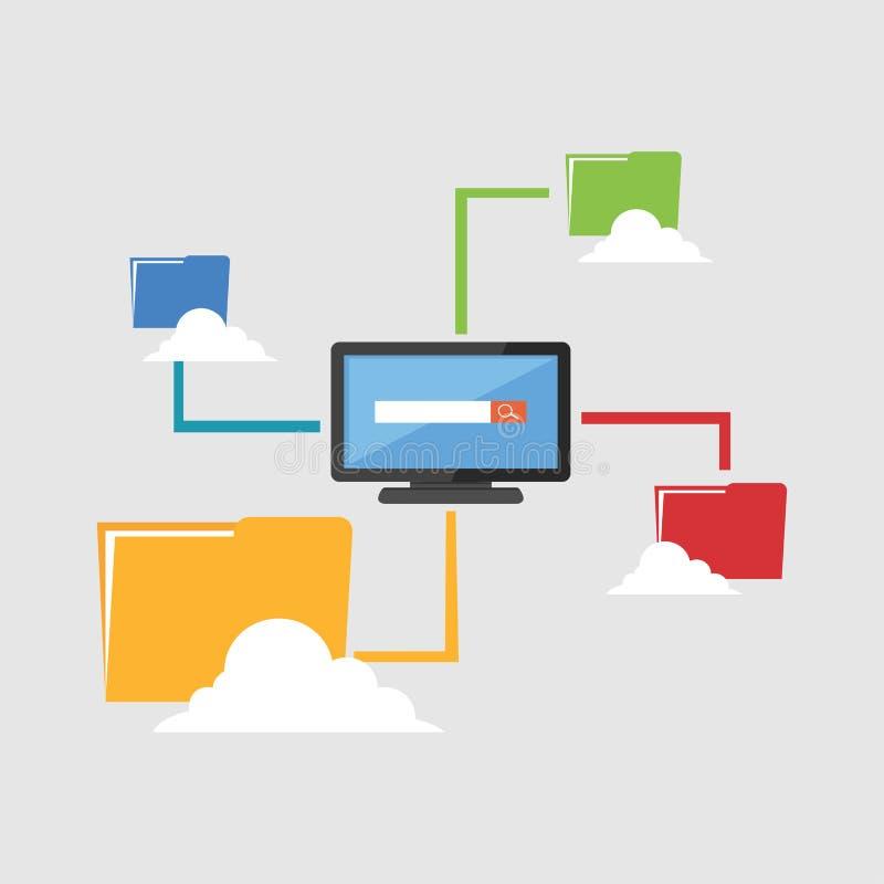 μοίρασμα αρχείων Διαχείριση αποθήκευσης σύννεφων ελεύθερη απεικόνιση δικαιώματος