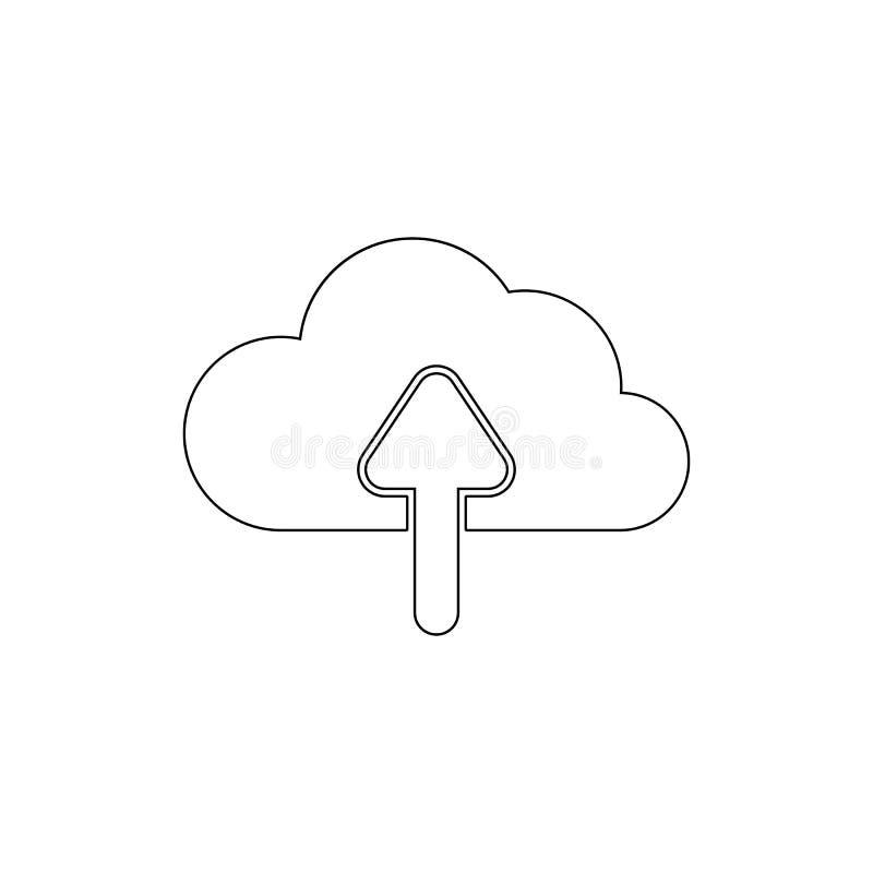 Μοίρασμα αρχείων κίνησης σύννεφων επάνω στο εικονίδιο περιλήψεων βελών E ελεύθερη απεικόνιση δικαιώματος