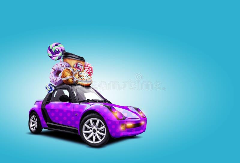Μοβ αυτοκίνητο σε μπλε φόντο Υπάρχουν ντόνατ, καραμέλες, χάρτινο φλιτζάνι με καφέ στην οροφή του αυτοκινήτου, φώτα αναμμένα στοκ εικόνες