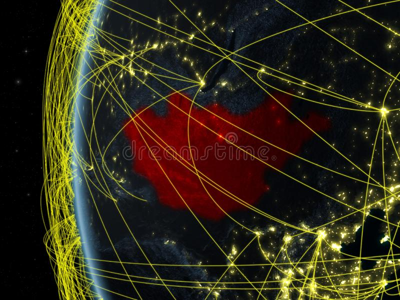 Μογγολία από το διάστημα με το δίκτυο απεικόνιση αποθεμάτων