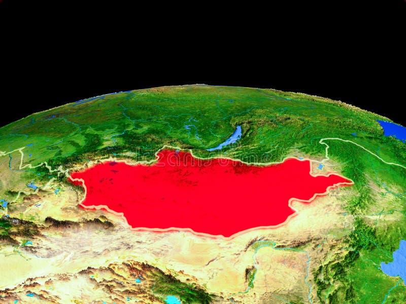 Μογγολία από το διάστημα στη γη ελεύθερη απεικόνιση δικαιώματος