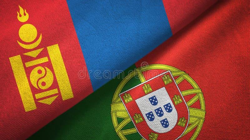 Μογγολία και Πορτογαλία δύο υφαντικό ύφασμα σημαιών, σύσταση υφάσματος απεικόνιση αποθεμάτων