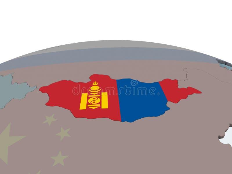 Μογγολία με τη σημαία στη σφαίρα διανυσματική απεικόνιση