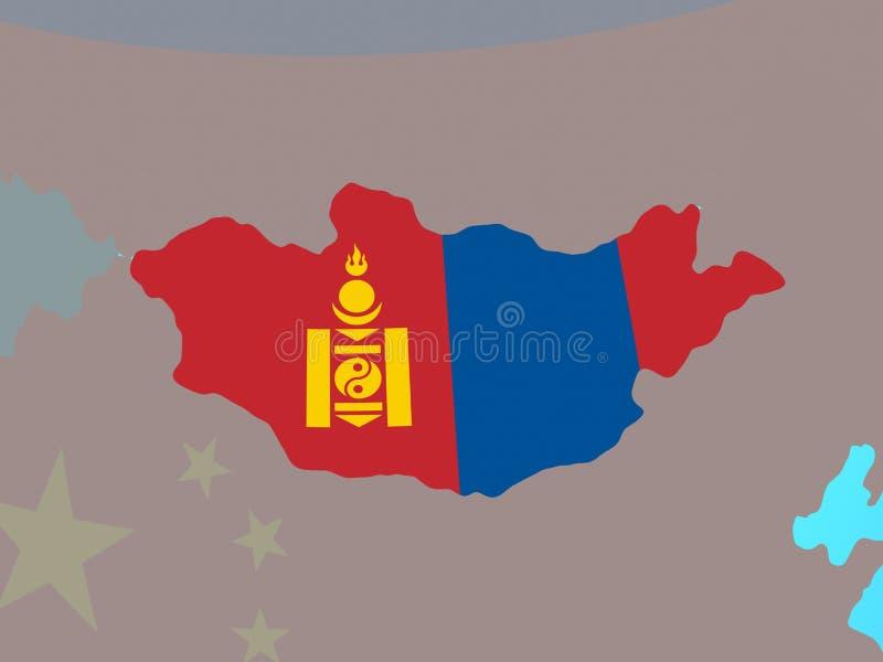 Μογγολία με τη σημαία στο χάρτη ελεύθερη απεικόνιση δικαιώματος