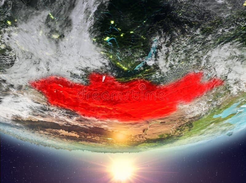 Μογγολία με τον ήλιο ελεύθερη απεικόνιση δικαιώματος