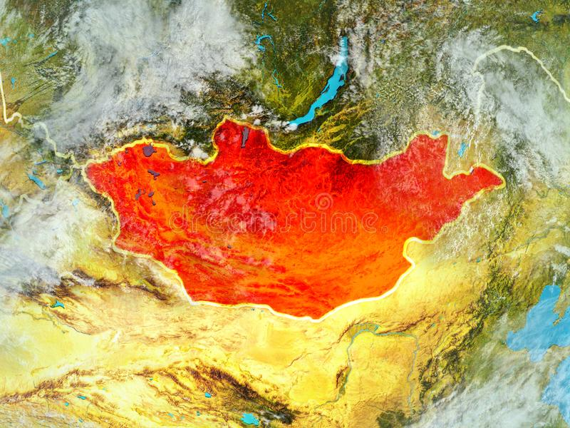 Μογγολία στη γη από το διάστημα διανυσματική απεικόνιση