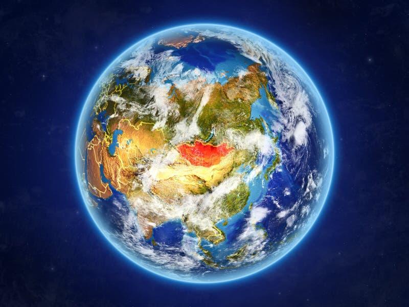 Μογγολία στη γη από το διάστημα απεικόνιση αποθεμάτων