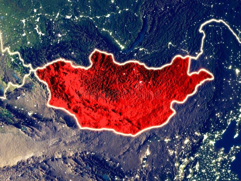 Μογγολία στη γη τη νύχτα ελεύθερη απεικόνιση δικαιώματος