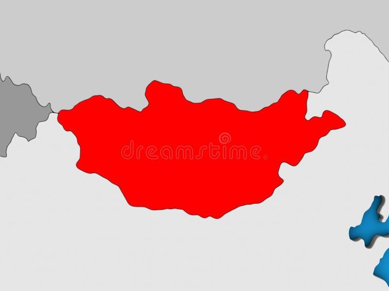 Μογγολία στον τρισδιάστατο χάρτη διανυσματική απεικόνιση