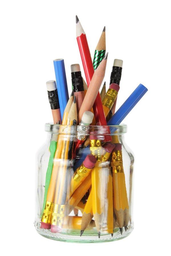 μολύβια βάζων γυαλιού στοκ φωτογραφία με δικαίωμα ελεύθερης χρήσης