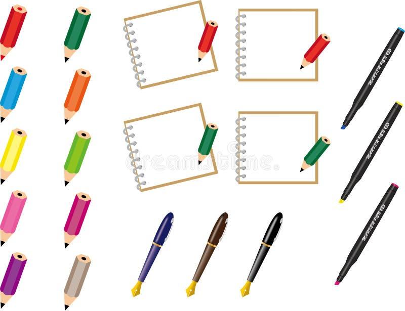 Μολύβια, στυλός και σημειωματάρια στοκ φωτογραφία