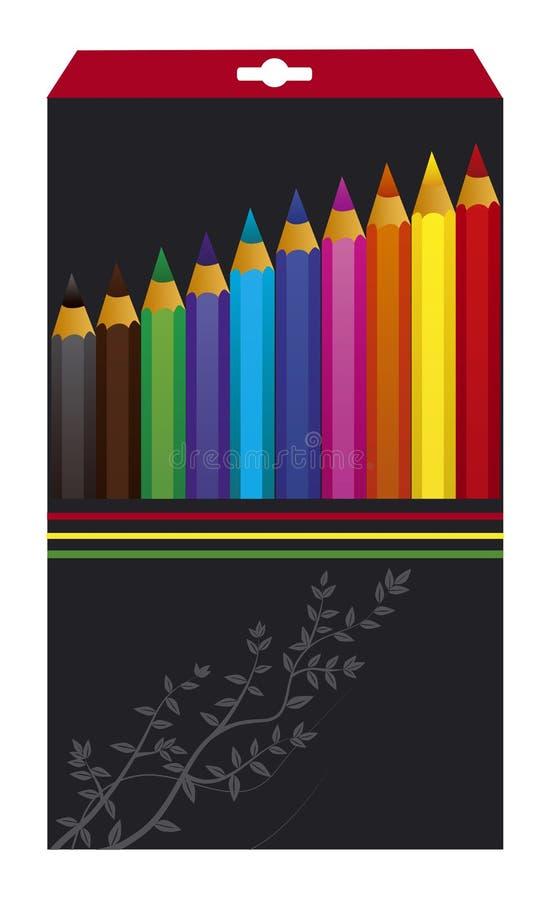 μολύβια χρώματος κιβωτίων απεικόνιση αποθεμάτων