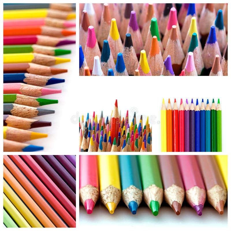 μολύβια χρώματος κολάζ στοκ εικόνες