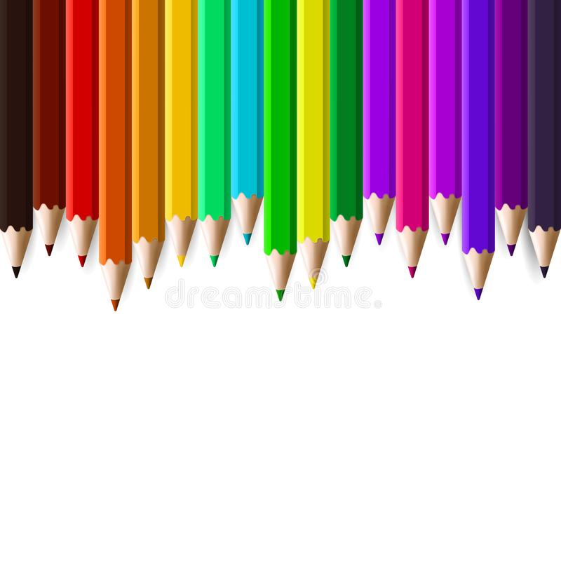 Μολύβια χρώματος που τίθενται στο άσπρο υπόβαθρο στοκ εικόνες