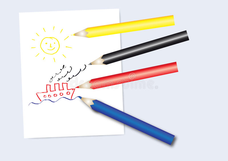 Download μολύβια χρώματος διανυσματική απεικόνιση. εικονογραφία από αλληλογραφία - 22777534