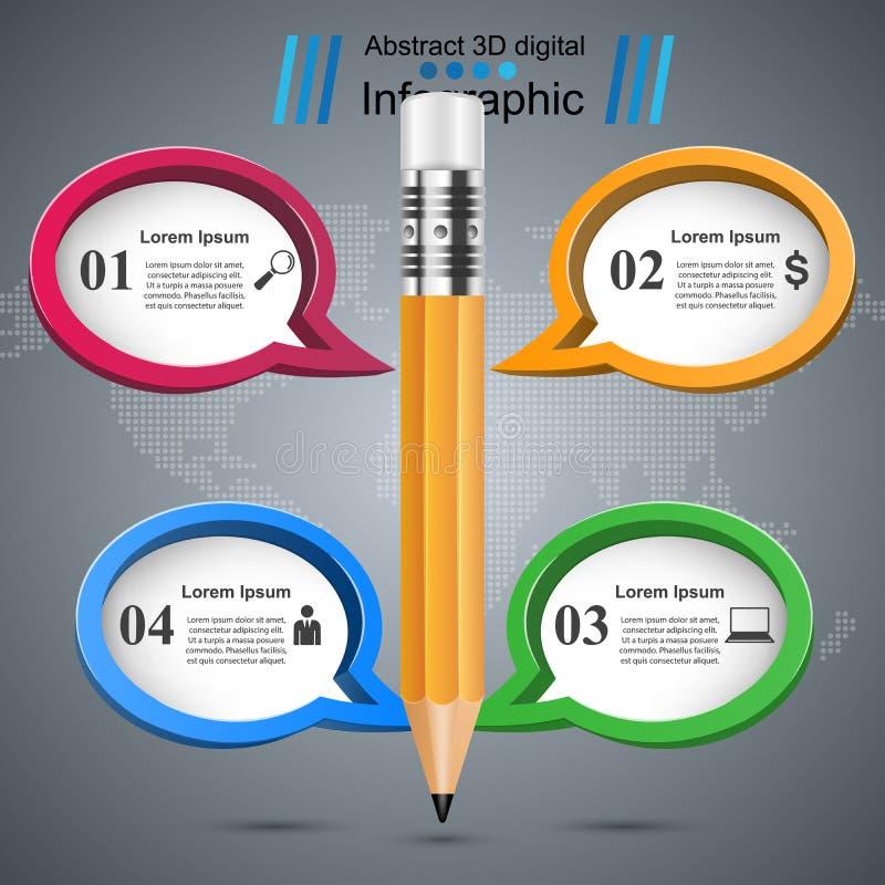 Μολύβι, εικονίδιο εκπαίδευσης Επιχείρηση Infographic διανυσματική απεικόνιση