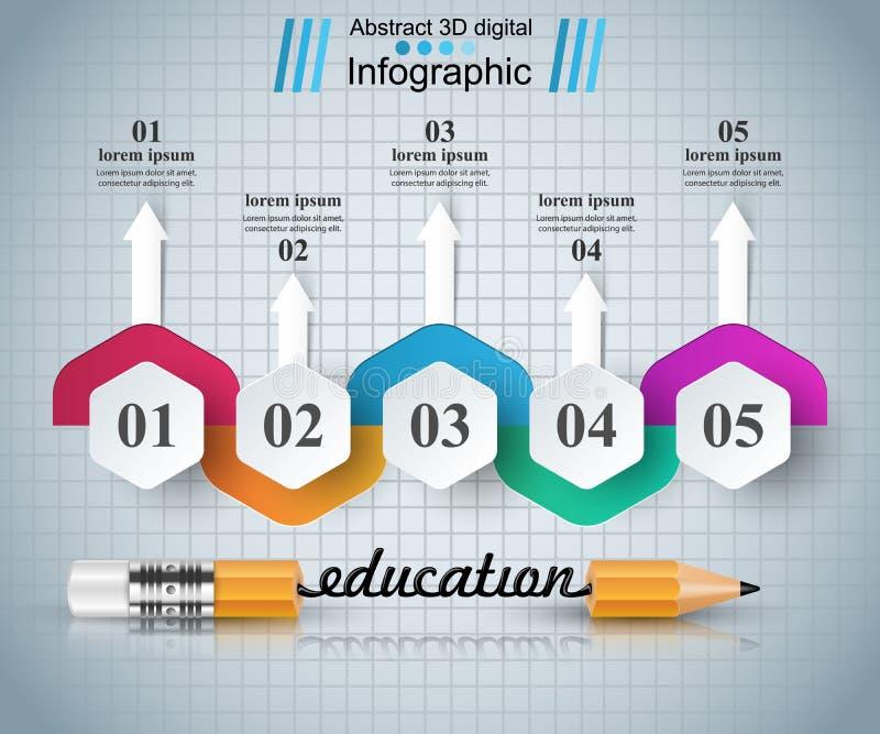 Μολύβι, εικονίδιο εκπαίδευσης Επιχείρηση Infographic απεικόνιση αποθεμάτων