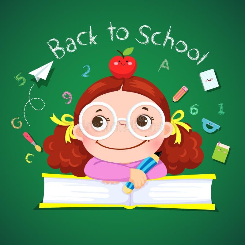 Μολύβι εκμετάλλευσης μικρών κοριτσιών για πίσω στο σχολείο διανυσματική απεικόνιση