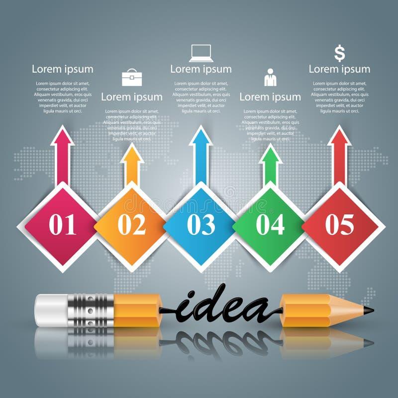 Μολύβι, ιδέα, εικονίδιο εκπαίδευσης Επιχείρηση Infographic διανυσματική απεικόνιση