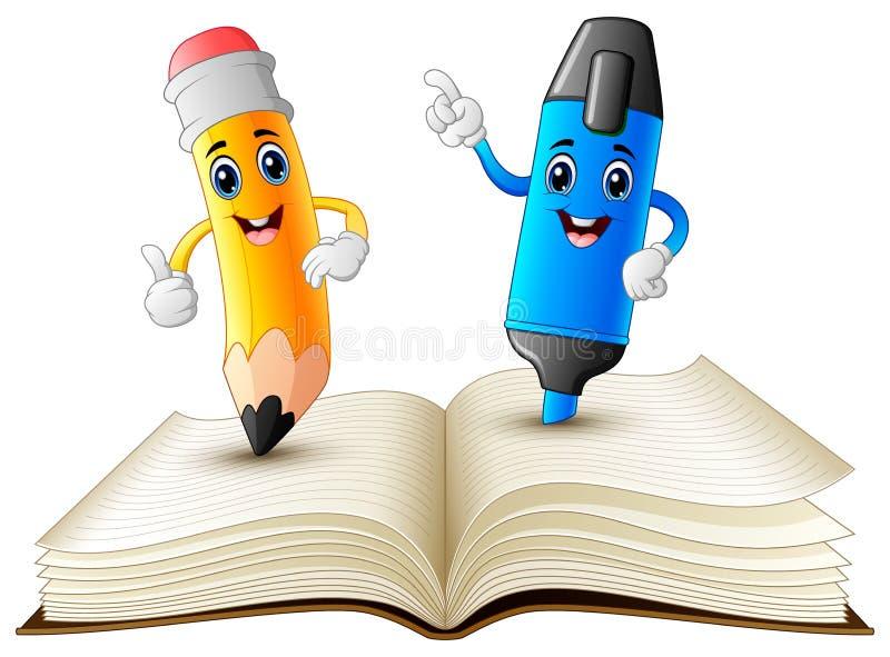Μολύβι και highlighter κινούμενα σχέδια που στέκονται στο βιβλίο διανυσματική απεικόνιση