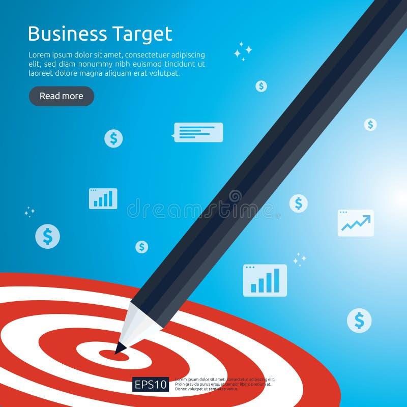 Μολύβι που δείχνει τον κεντρικό στόχο dartboard επίτευγμα στρατηγικής και επίπεδο σχέδιο επιτυχίας Στόχος και βέλος βελών τοξοβολ ελεύθερη απεικόνιση δικαιώματος