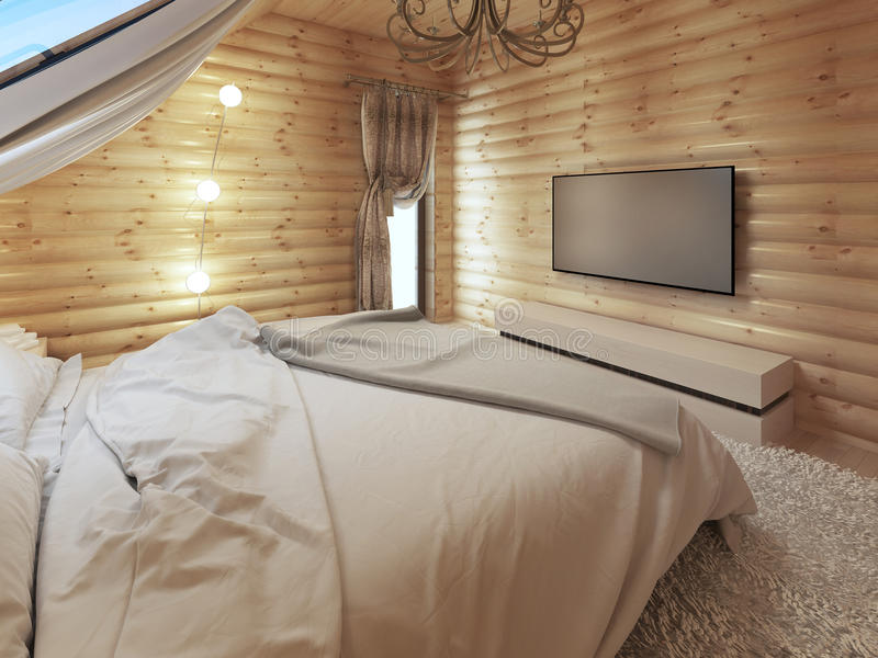 Μονάδα TV σε ένα σύγχρονο εσωτερικό κρεβατοκάμαρων σε ένα κούτσουρο στοκ εικόνες με δικαίωμα ελεύθερης χρήσης