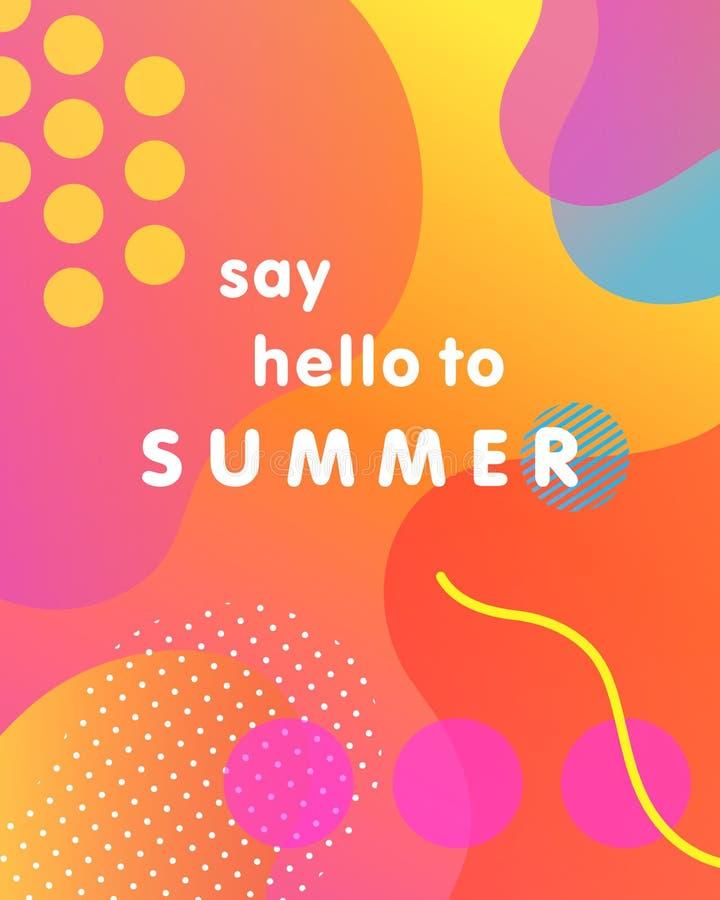 Μοναδική καλλιτεχνική κάρτα σχεδίου - πέστε γειά σου στο καλοκαίρι ελεύθερη απεικόνιση δικαιώματος