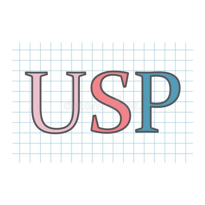 Μοναδική πρόταση πώλησης USP που γράφεται στο ελεγμένο φύλλο εγγράφου απεικόνιση αποθεμάτων