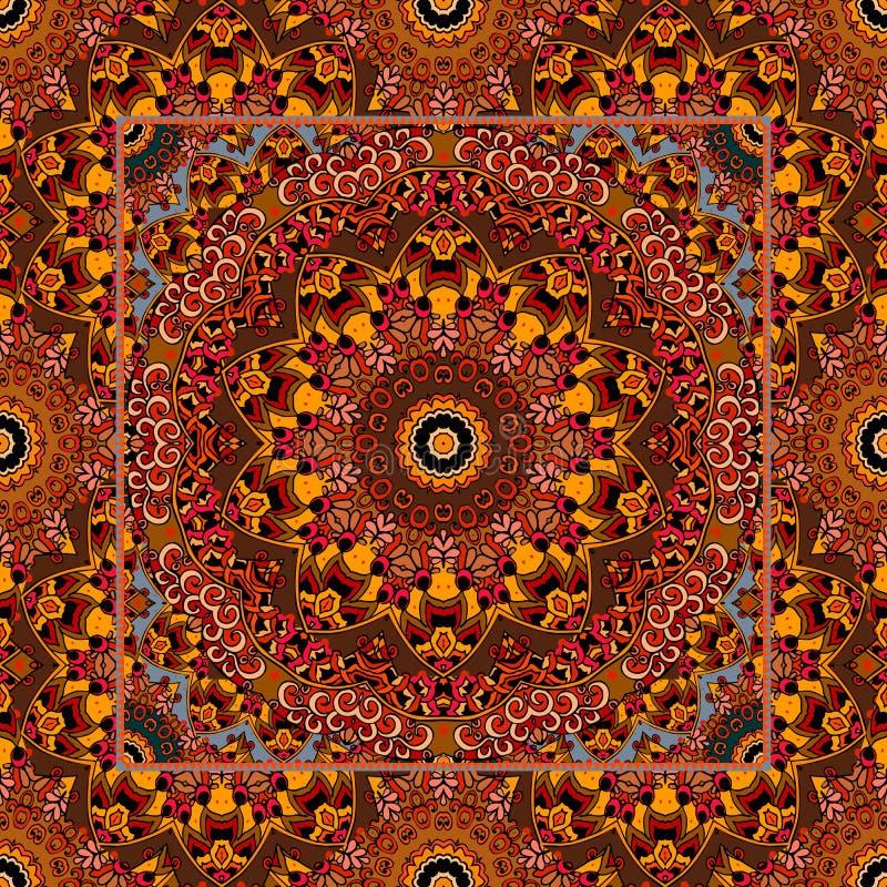 Μοναδικός τάπητας με το mandala λουλουδιών και διακοσμητικό πλαίσιο στο αραβικό ύφος ελεύθερη απεικόνιση δικαιώματος